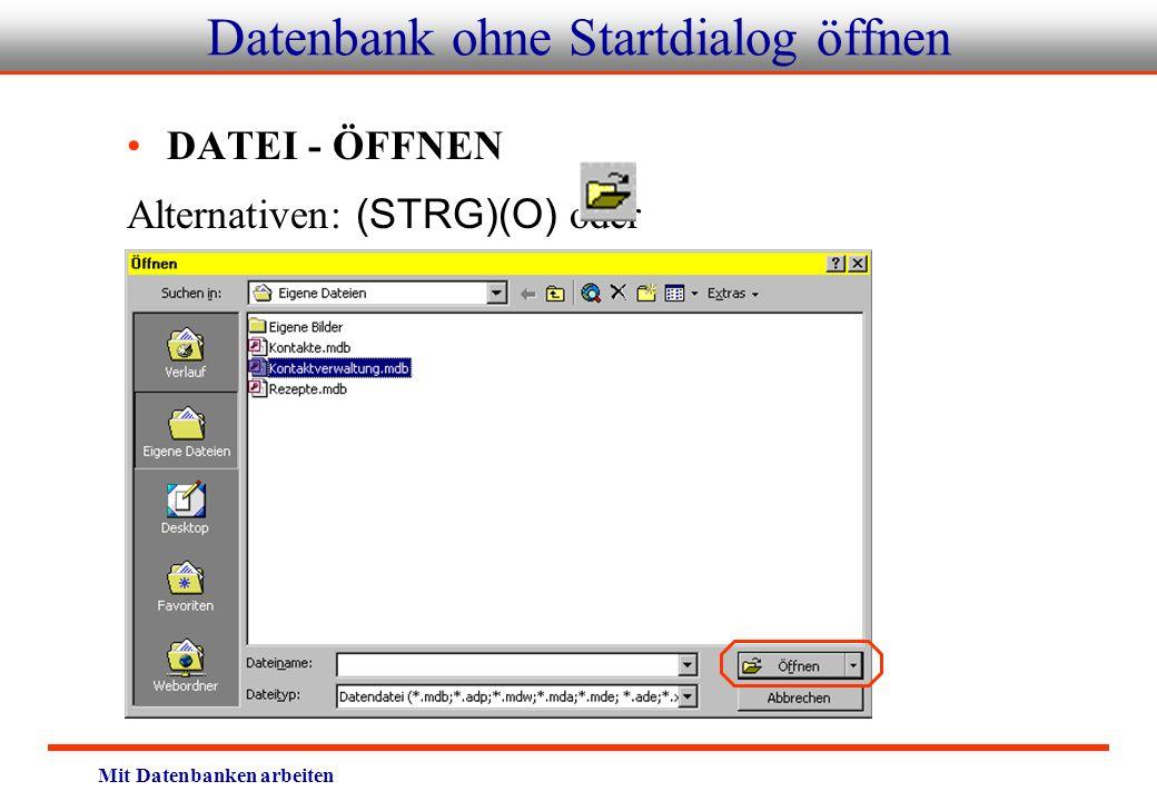 Datenbank ohne Startdialog öffnen