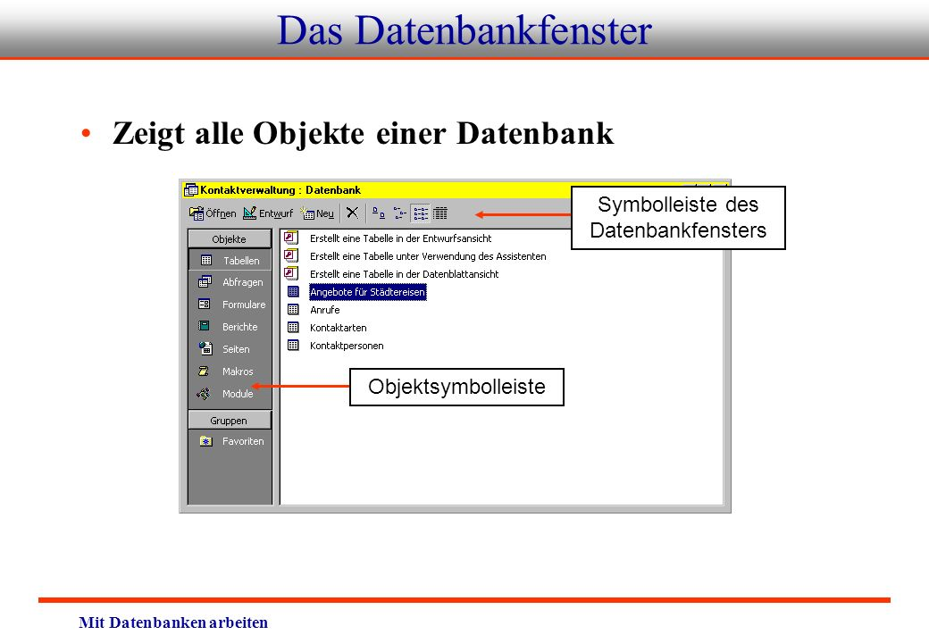 Symbolleiste des Datenbankfensters