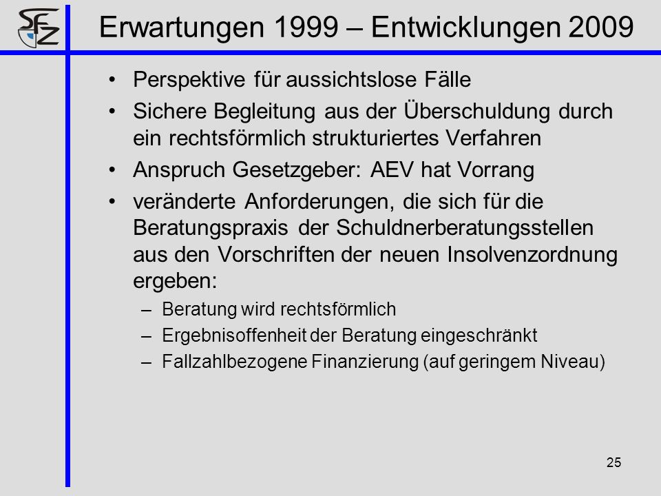 Erwartungen 1999 – Entwicklungen 2009