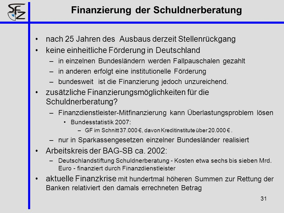 Finanzierung der Schuldnerberatung