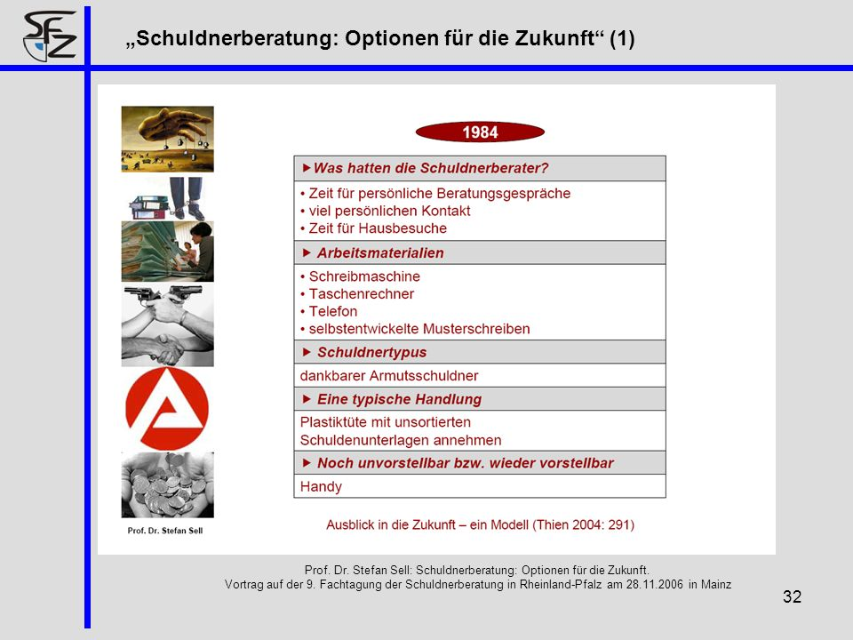 Prof. Dr. Stefan Sell: Schuldnerberatung: Optionen für die Zukunft.