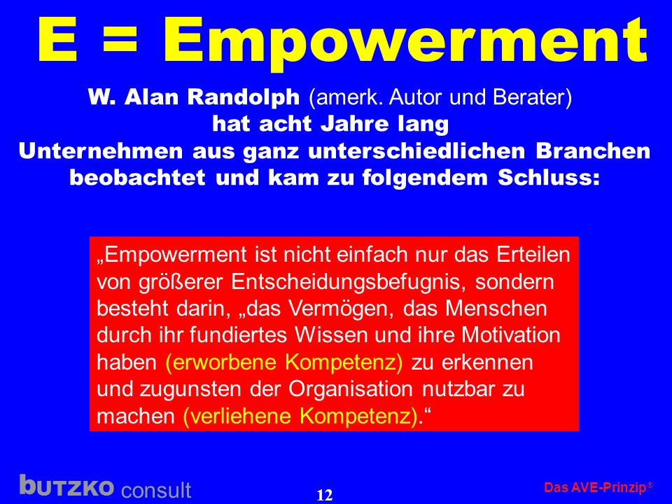 E = Empowerment W. Alan Randolph (amerk. Autor und Berater)