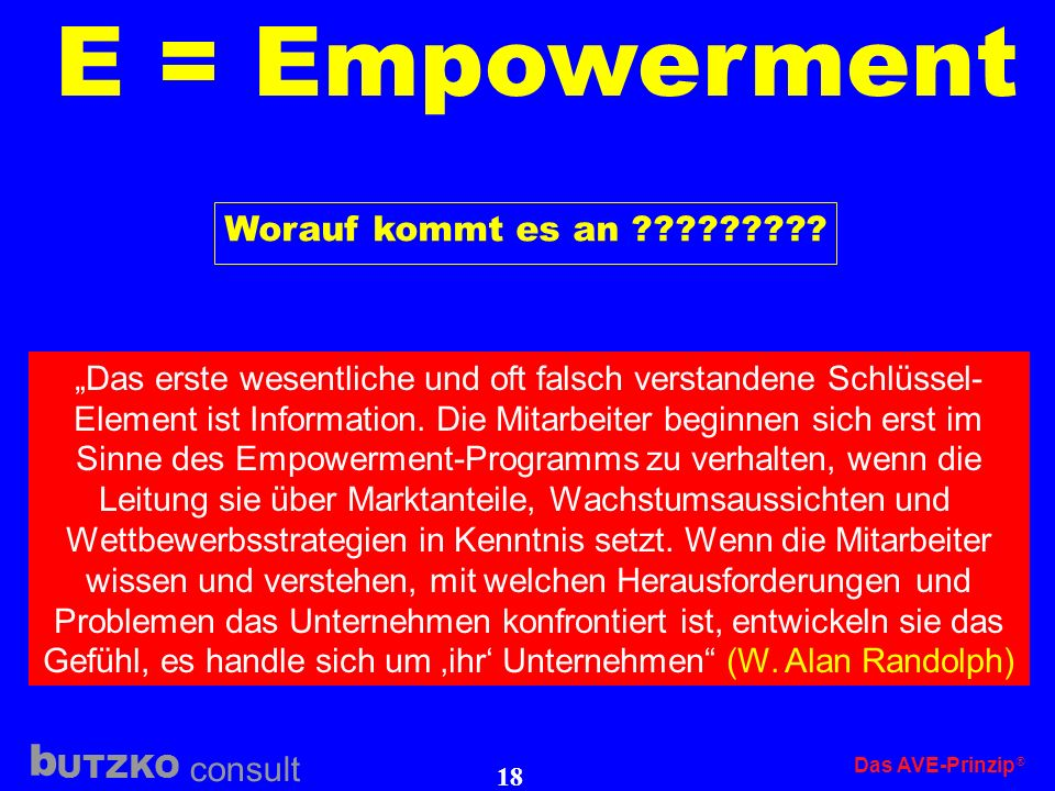 E = Empowerment Worauf kommt es an