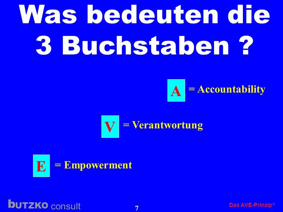 Was bedeuten die 3 Buchstaben A V E = Accountability = Verantwortung