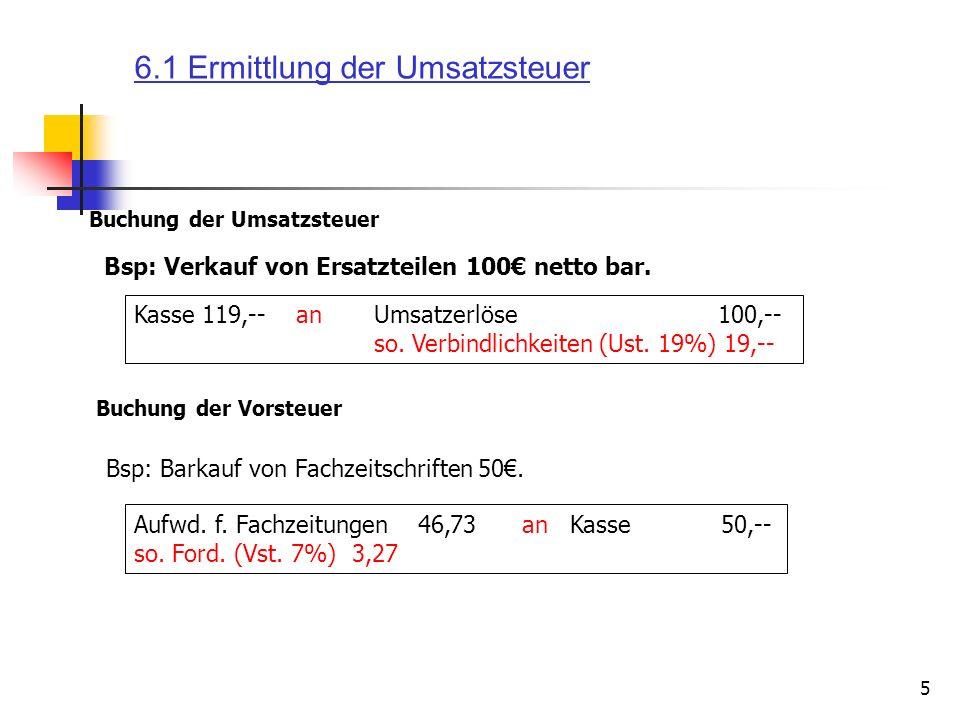 6.1 Ermittlung der Umsatzsteuer