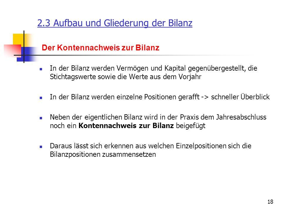 2.3 Aufbau und Gliederung der Bilanz