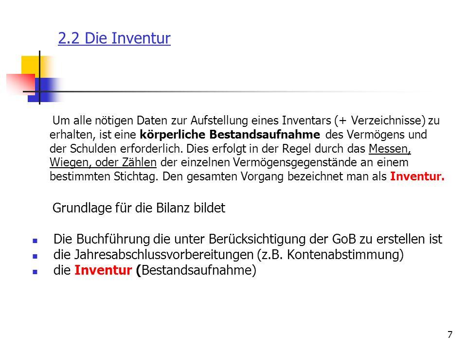 2.2 Die Inventur