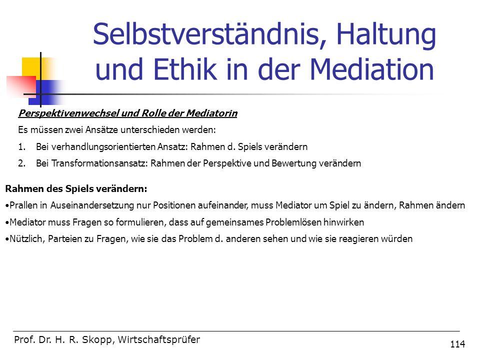 Selbstverständnis, Haltung und Ethik in der Mediation