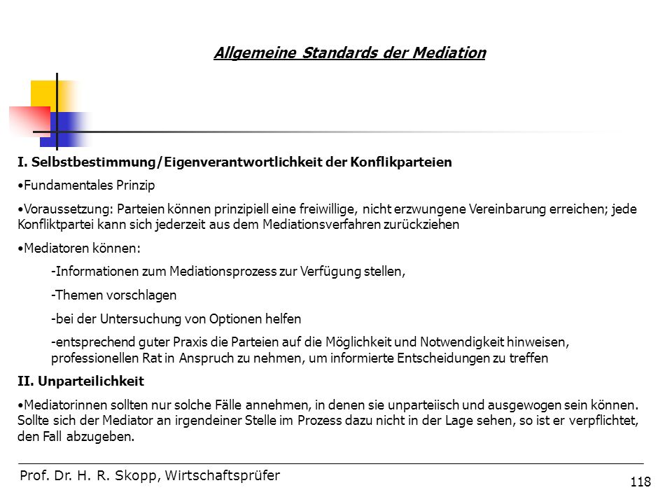 Allgemeine Standards der Mediation