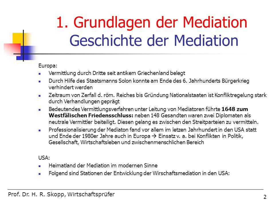 1. Grundlagen der Mediation Geschichte der Mediation