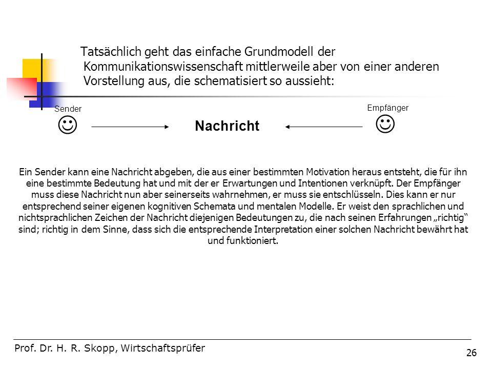 Tatsächlich geht das einfache Grundmodell der Kommunikationswissenschaft mittlerweile aber von einer anderen Vorstellung aus, die schematisiert so aussieht: