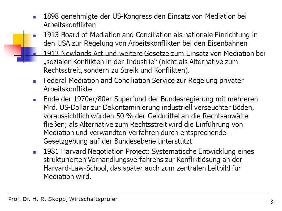 1898 genehmigte der US-Kongress den Einsatz von Mediation bei Arbeitskonflikten
