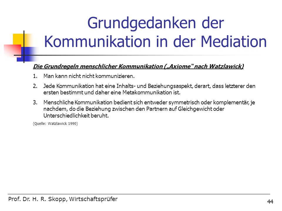 Grundgedanken der Kommunikation in der Mediation