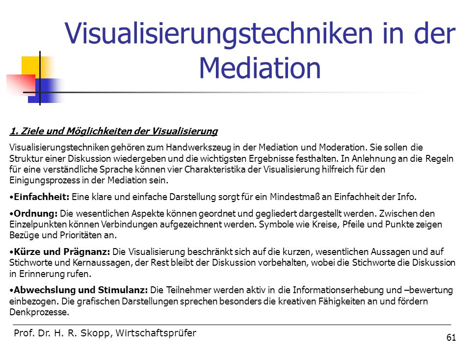 Visualisierungstechniken in der Mediation