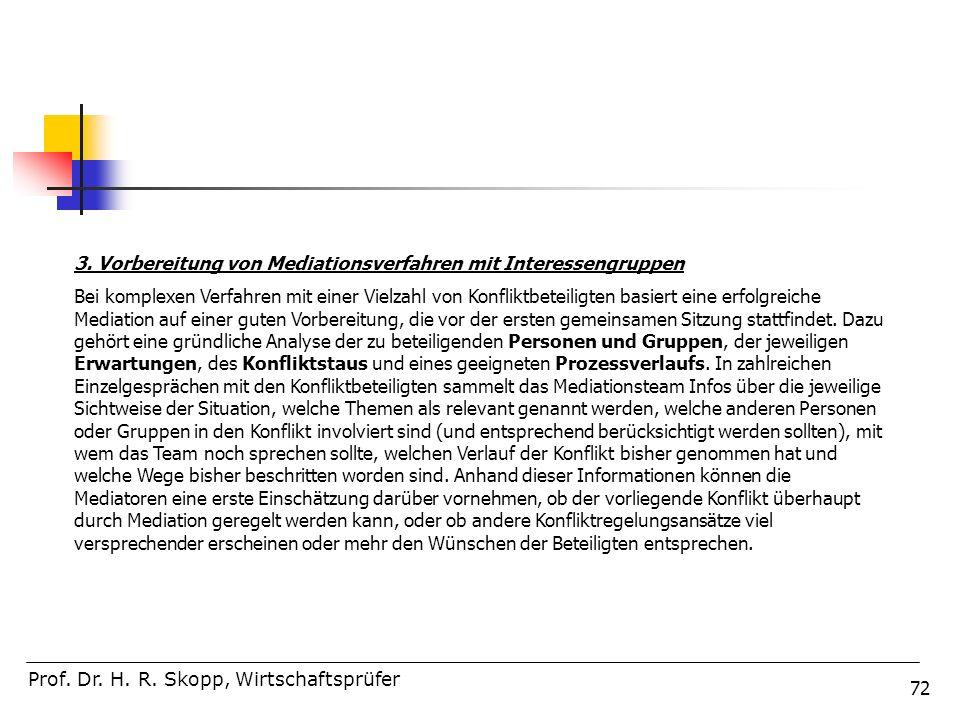 3. Vorbereitung von Mediationsverfahren mit Interessengruppen