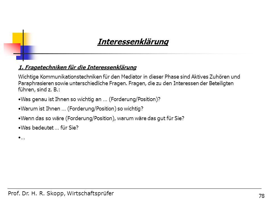 Interessenklärung 1. Fragetechniken für die Interessenklärung