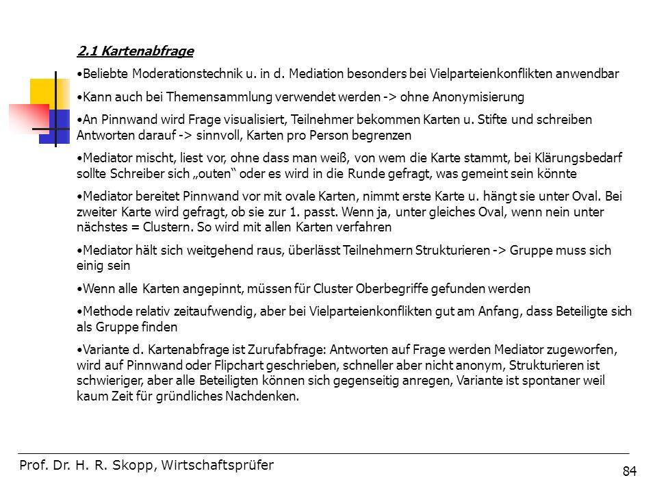 2.1 Kartenabfrage Beliebte Moderationstechnik u. in d. Mediation besonders bei Vielparteienkonflikten anwendbar.