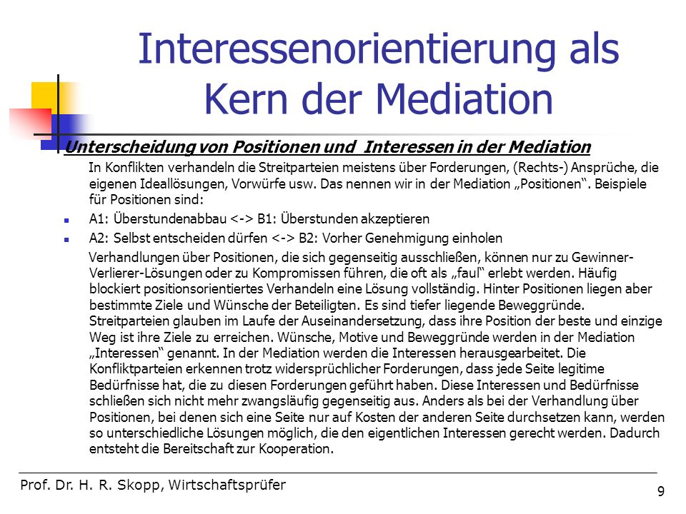 Interessenorientierung als Kern der Mediation