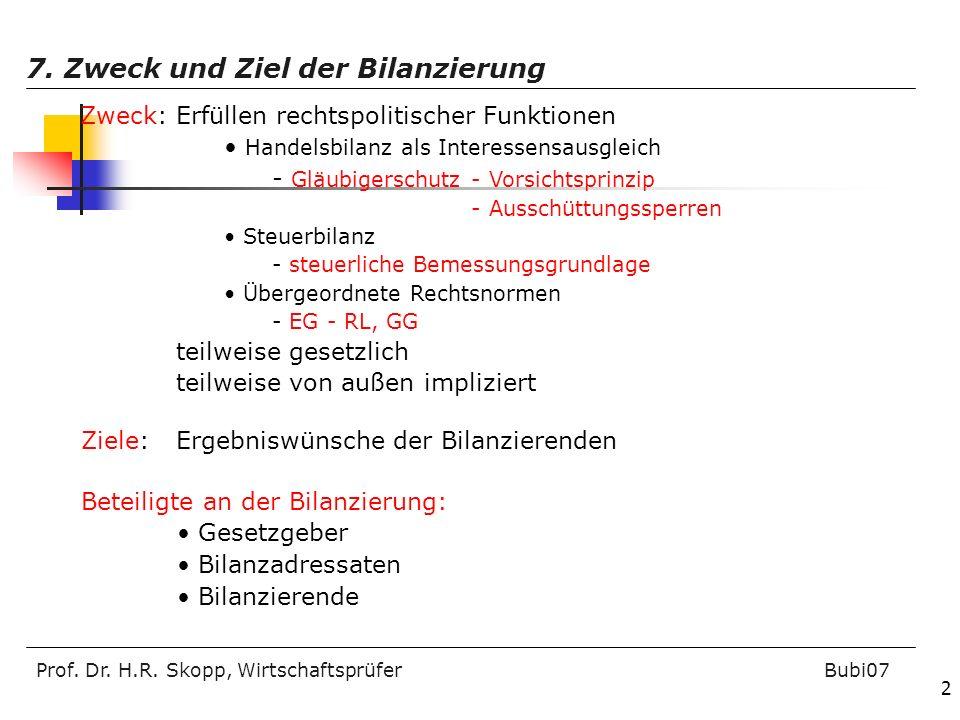 7. Zweck und Ziel der Bilanzierung
