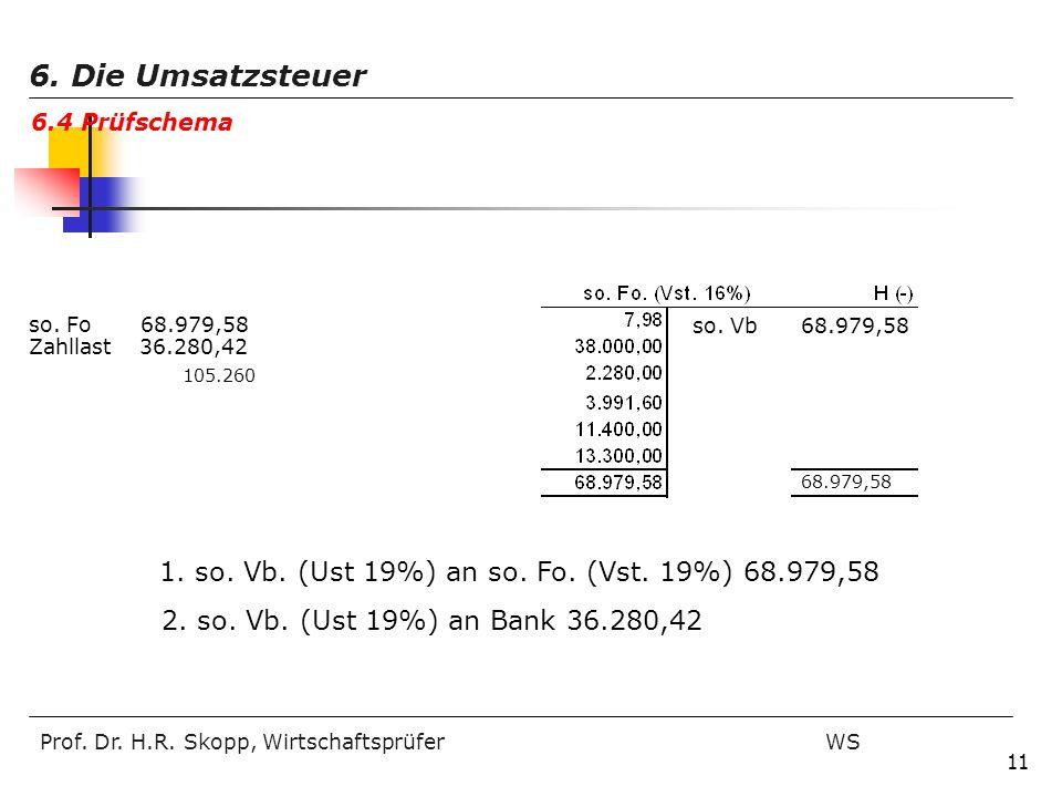 6. Die Umsatzsteuer 6.4 Prüfschema. so. Fo 68.979,58. so. Vb 68.979,58. Zahllast 36.280,42.