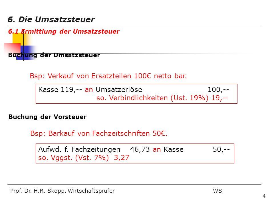 6. Die Umsatzsteuer Bsp: Verkauf von Ersatzteilen 100€ netto bar.