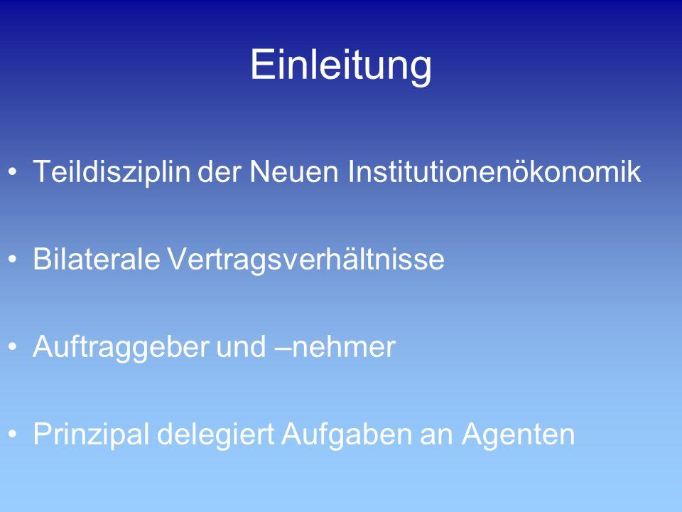 Einleitung Teildisziplin der Neuen Institutionenökonomik