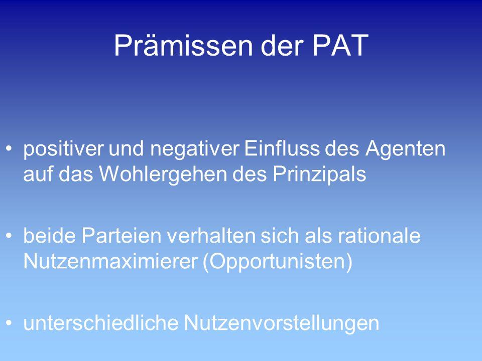 Prämissen der PAT positiver und negativer Einfluss des Agenten auf das Wohlergehen des Prinzipals.