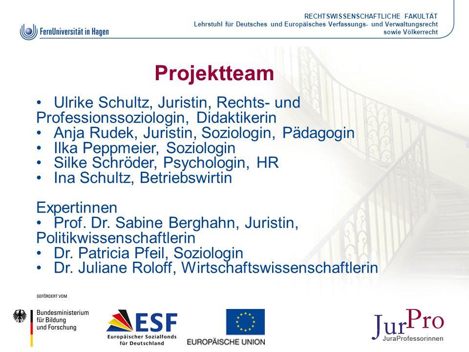 Projektteam Ulrike Schultz, Juristin, Rechts- und Professionssoziologin, Didaktikerin. Anja Rudek, Juristin, Soziologin, Pädagogin.