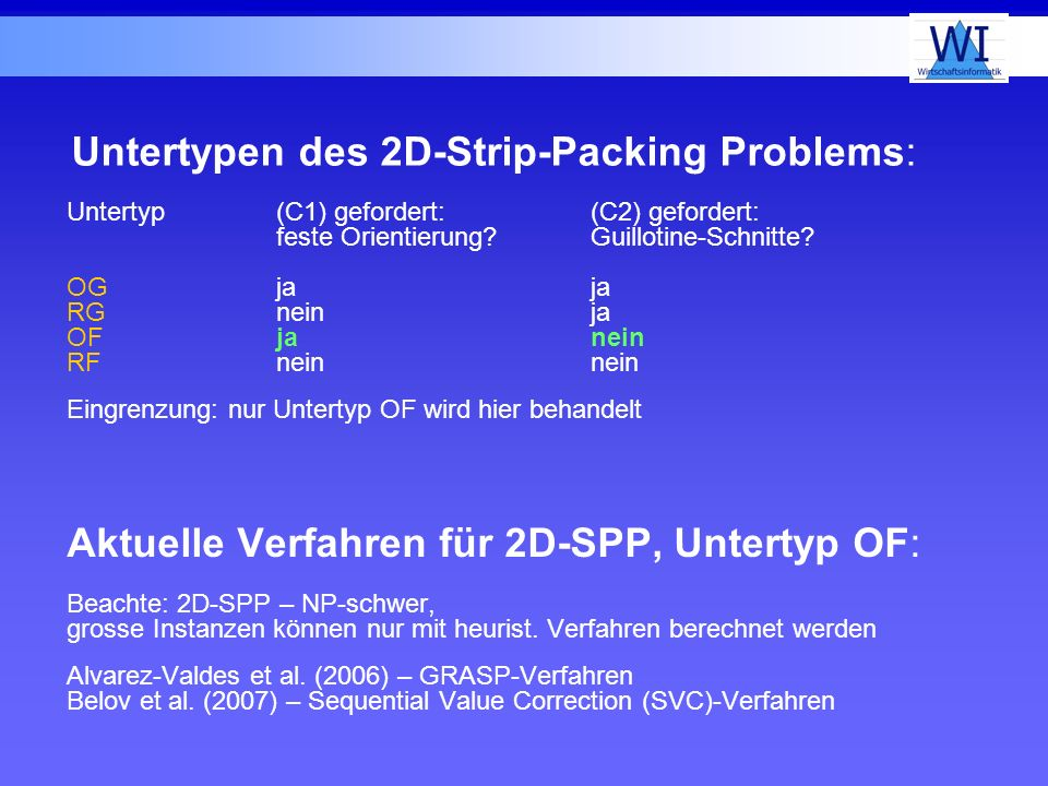 Untertypen des 2D-Strip-Packing Problems: