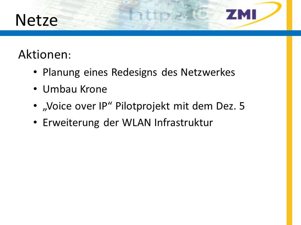 Netze Aktionen: Planung eines Redesigns des Netzwerkes Umbau Krone