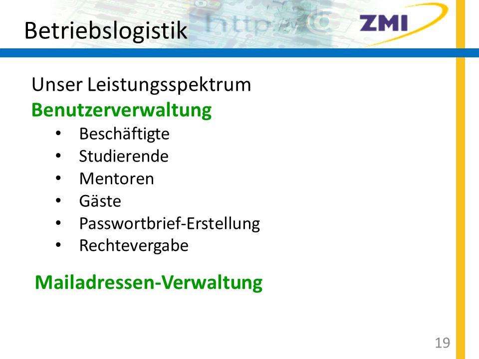 Betriebslogistik Unser Leistungsspektrum Benutzerverwaltung