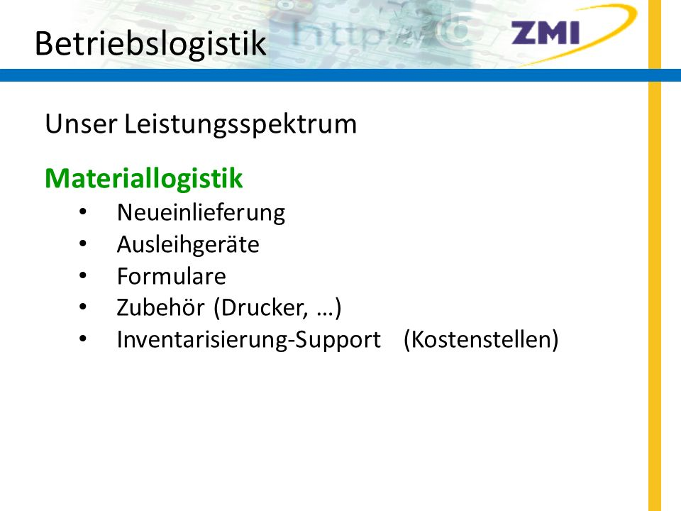 Betriebslogistik Unser Leistungsspektrum Materiallogistik