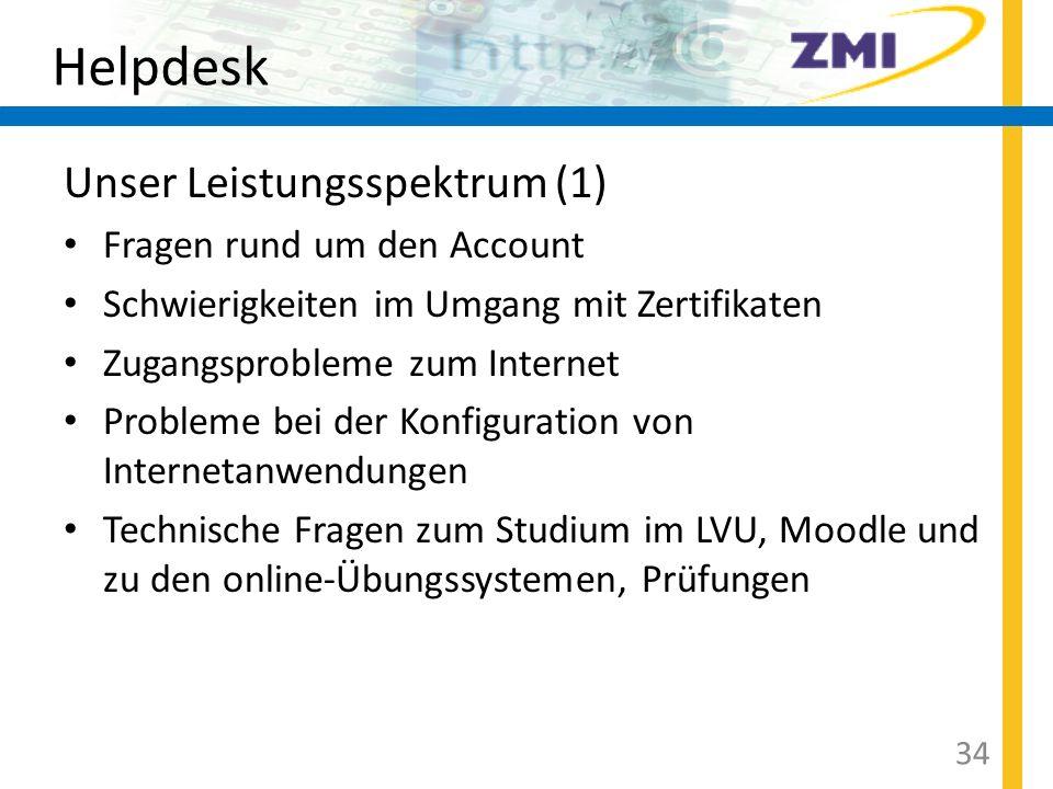 Helpdesk Unser Leistungsspektrum (1) Fragen rund um den Account