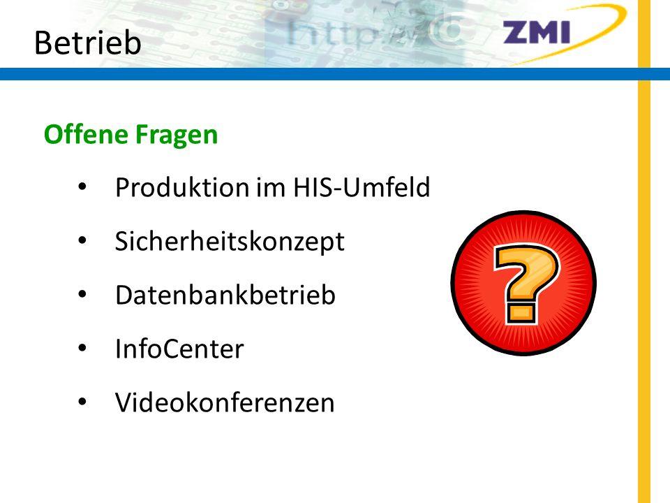 Betrieb Offene Fragen Produktion im HIS-Umfeld Sicherheitskonzept