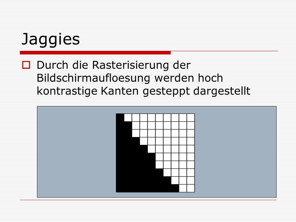 Jaggies Durch die Rasterisierung der Bildschirmaufloesung werden hoch kontrastige Kanten gesteppt dargestellt.