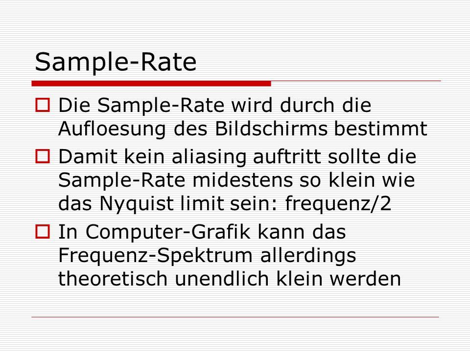 Sample-Rate Die Sample-Rate wird durch die Aufloesung des Bildschirms bestimmt.