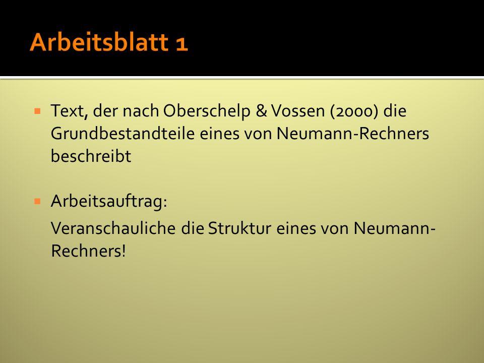 Arbeitsblatt 1 Text, der nach Oberschelp & Vossen (2000) die Grundbestandteile eines von Neumann-Rechners beschreibt.