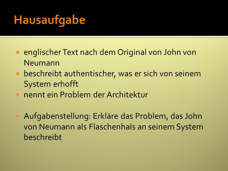 Hausaufgabe englischer Text nach dem Original von John von Neumann