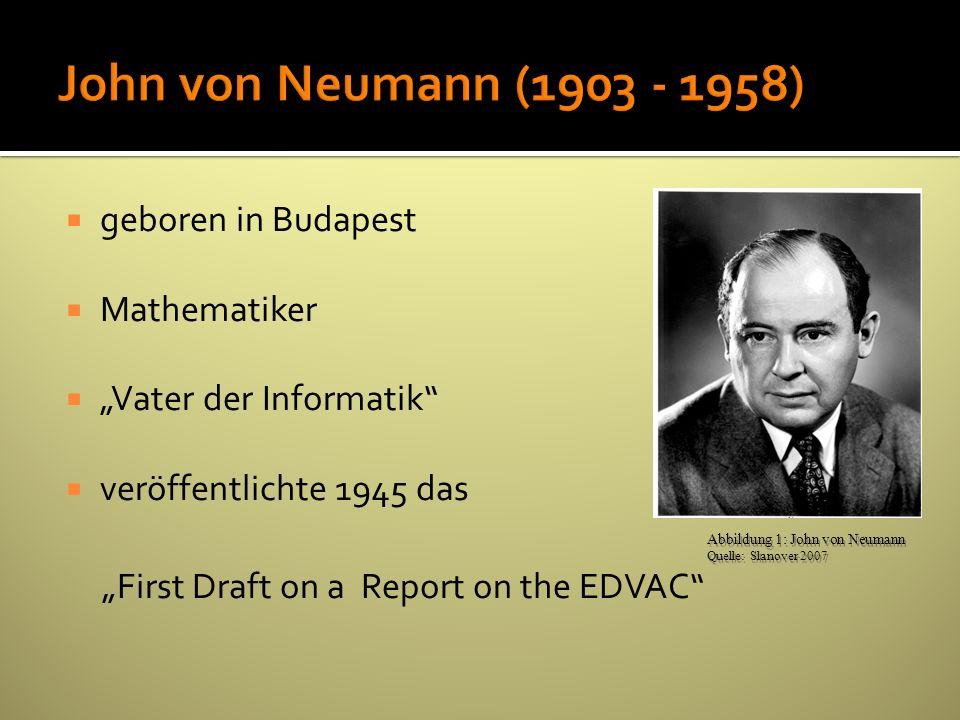 John von Neumann (1903 - 1958) geboren in Budapest Mathematiker