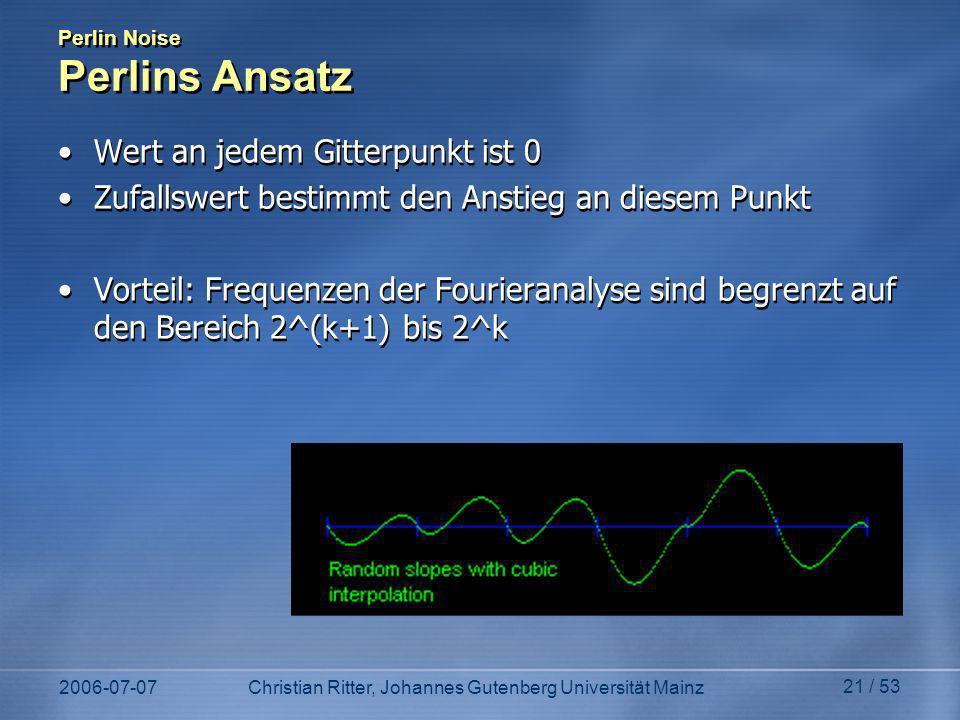 Perlin Noise Perlins Ansatz