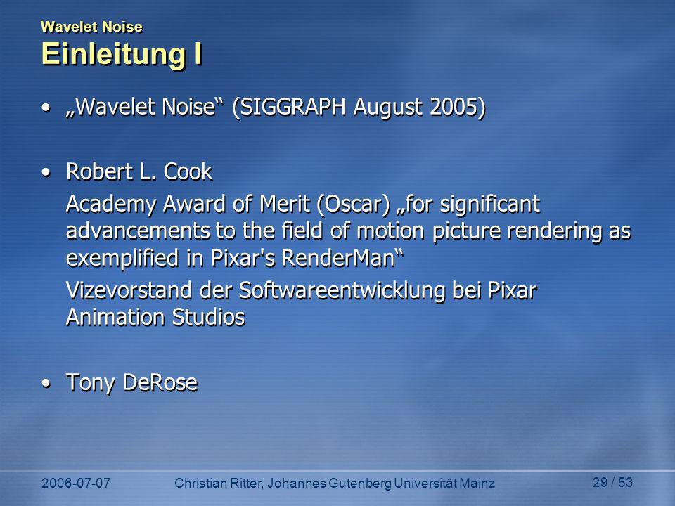 Wavelet Noise Einleitung I