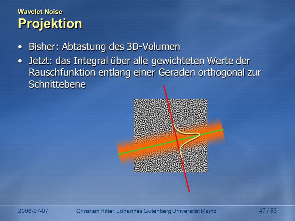 Wavelet Noise Projektion
