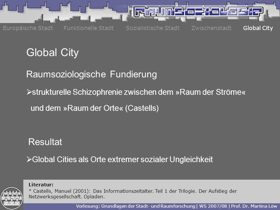 Global City Raumsoziologische Fundierung