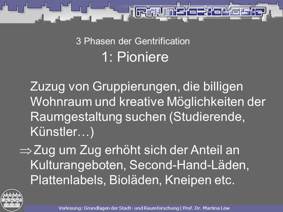 3 Phasen der Gentrification 1: Pioniere