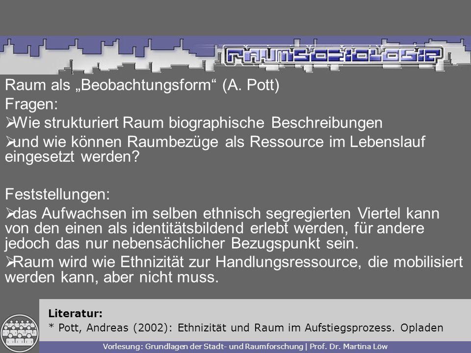 """Raum als """"Beobachtungsform (A. Pott) Fragen:"""