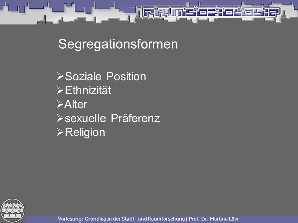 Segregationsformen Soziale Position Ethnizität Alter