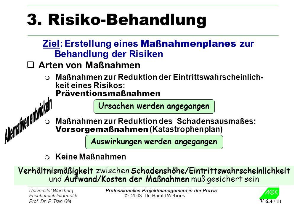 3. Risiko-Behandlung Ziel: Erstellung eines Maßnahmenplanes zur Behandlung der Risiken. Arten von Maßnahmen.