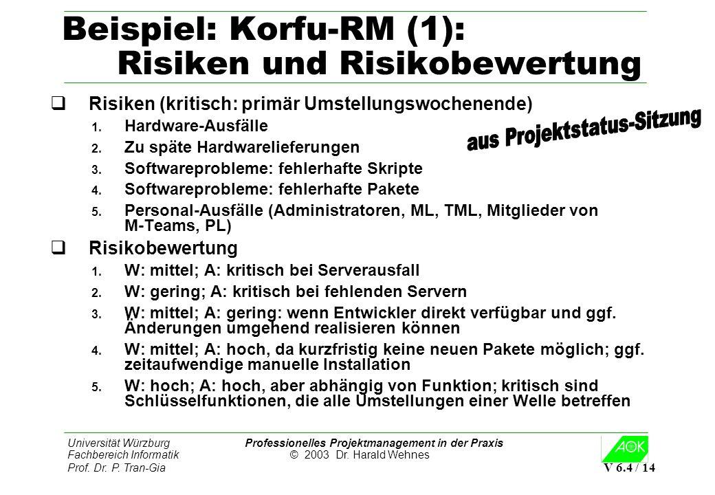 Beispiel: Korfu-RM (1): Risiken und Risikobewertung