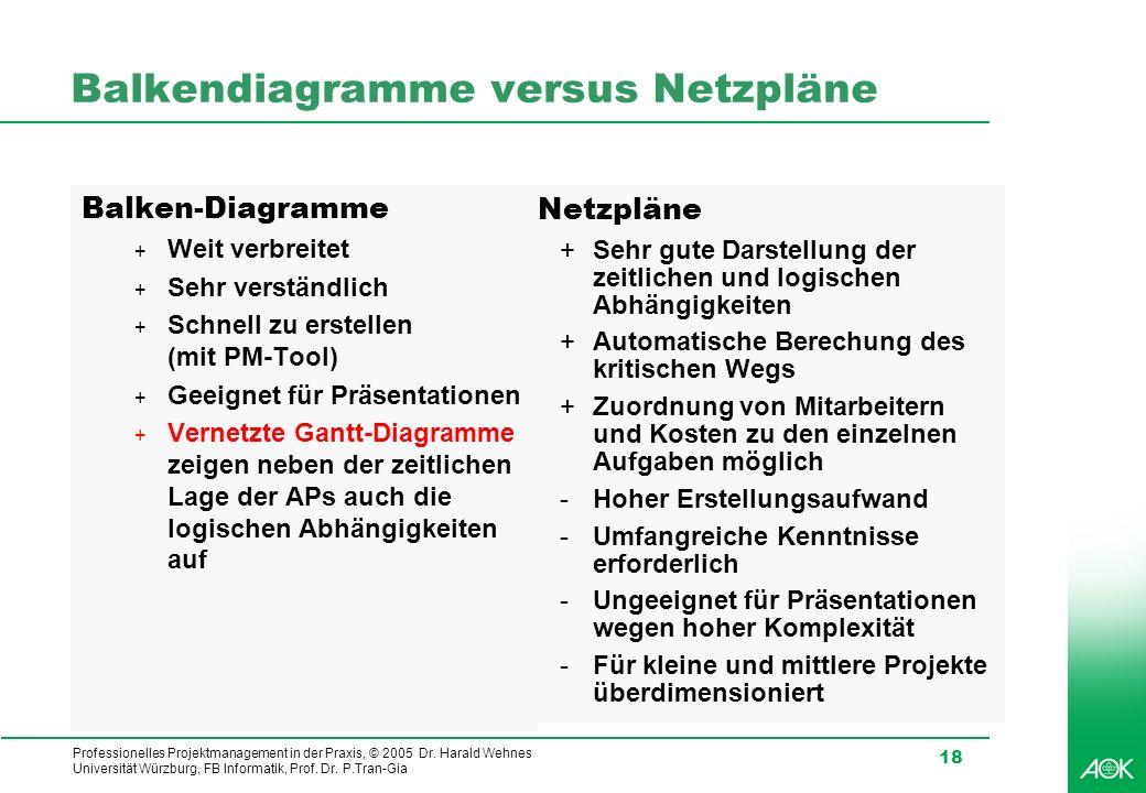 Balkendiagramme versus Netzpläne