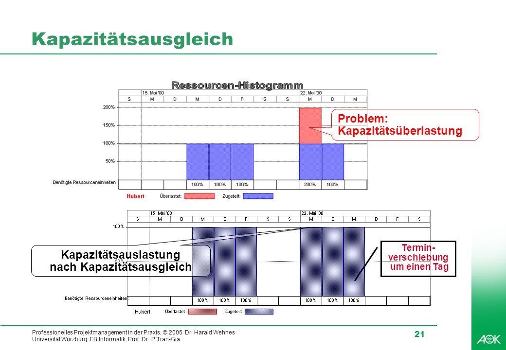 Ressourcen-Histogramm Kapazitätsauslastung nach Kapazitätsausgleich